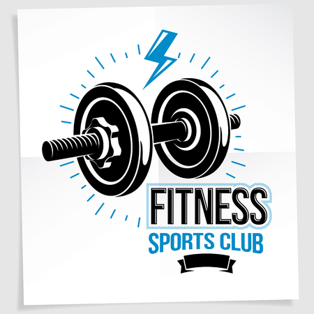 Sport popularization inspirational vector poster made using disc weight dumbbell sport equipment and decorated with lightning symbol.