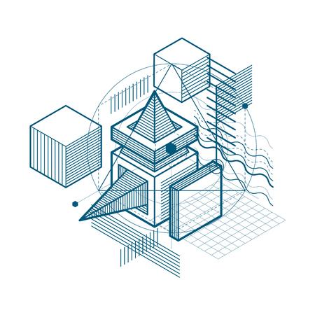 Fondo de vector con líneas y figuras isométricas abstractas. Plantilla hecha con cubos, hexágonos, cuadrados, rectángulos y diferentes elementos abstractos.