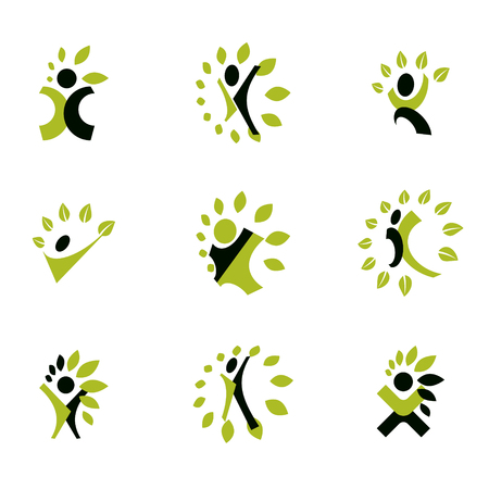 Vector illustrations set, excited abstract person with raised hands up. Restoring to health conceptual vector logo. Ilustração