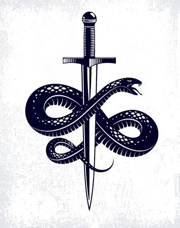 Schlange und Dolch, Schlange wickelt sich um ein Schwertvektor-Vintage-Tattoo, den römischen Gott Merkur, Glück und Tricks, allegorisches Logo oder Emblem eines alten Symbols.