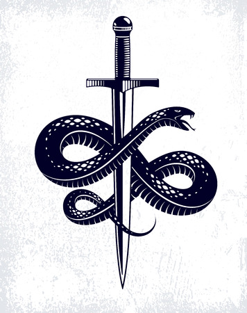 Snake and Dagger, Serpent wraps around a sword vector vintage tattoo, Roman god Mercury, luck and trickery, allegorical logo or emblem of ancient symbol. Illustration