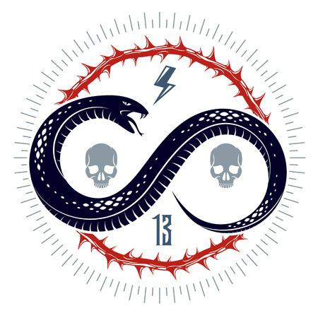 Venomous snake vintage tattoo, vector logo or emblem of aggressive predator reptile, deadly poisoned serpent symbol, vintage style illustration.