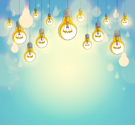 Idea concept, think different, light bulbs group vector illustration with single one is shining, creative inspiration, be special, leadership. Composition with copy space for text. Vetores