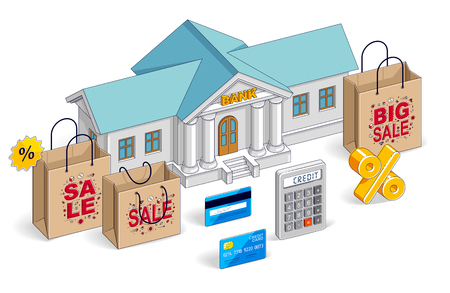 Consumer credit concept, bank building with shopping bags, calculator, card and percent symbol isolated on white background. Vector 3d isometric business and finance illustration, thin line design.