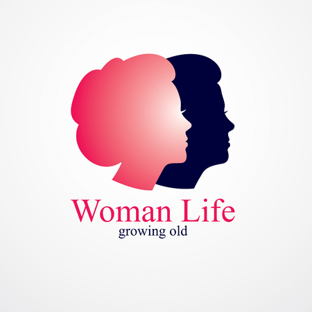Woman getting old age years conceptual illustration, from woman to grandma, aging period and cycle of life. Vector simple classic concept icon or logo design. 向量圖像