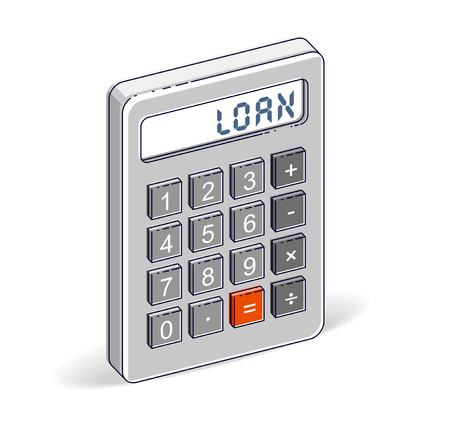 Credit and loan concept, calculator with loan lettering isolated on white background. Vector 3d isometric business and finance illustration. Ilustração