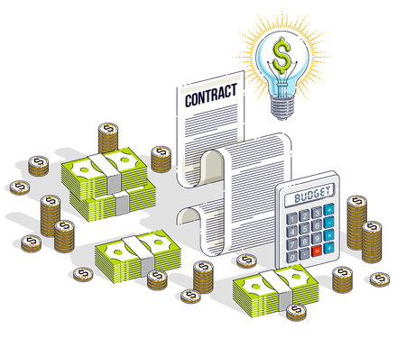 Financial contract concept, paper document and cash money stacks with calculator and light bulb idea isolated. Isometric vector business and finance illustration, 3d thin line design. Standard-Bild - 122910625
