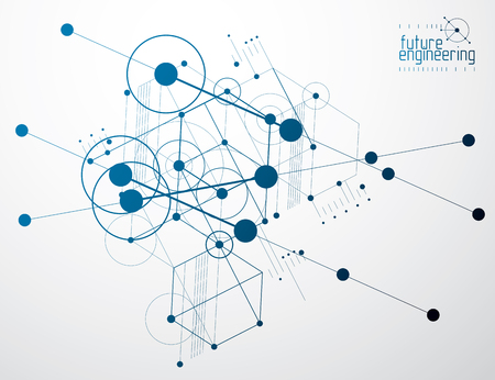 Engineering technology vector wallpaper made with hexagons, circles and lines. Technical drawing abstract background. Ilustração