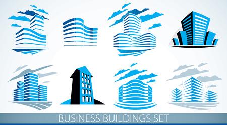 Business buildings set, modern architecture