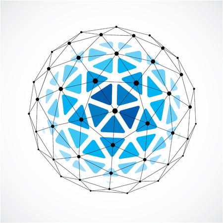 3d cyfrowy rama z drutu sferyczny obiekt wykonany przy użyciu trójkątnych faset. Ilustracje wektorowe