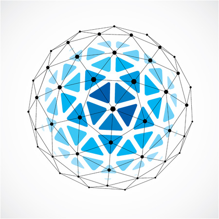 3d digital wire frame spherical object made using triangular facets. Vector Illustration