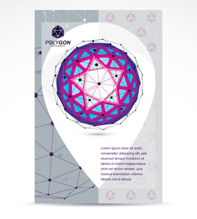 Digital innovations business promotion idea, brochure head page. Vector abstract 3d bright geometric shape, polygonal figure.  イラスト・ベクター素材