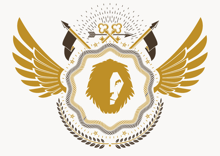 Heraldic emblem made using graphic elements like bird wings and wild lion, vector illustration.