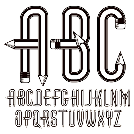 Upper case English alphabet letters collection constructed with sharp pencils, office tools design.