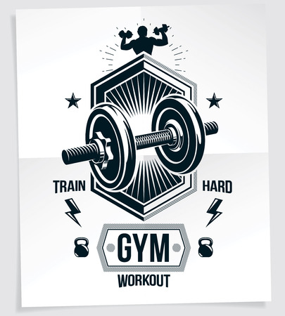 Bodybuilding vector motivation poster created with disc weight dumbbell, kettle-bell sport equipment and sportsman body silhouette. Train hard lettering.