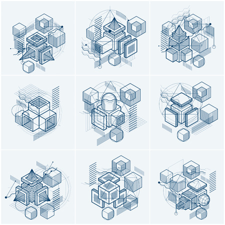 Abstract isometric lines and figures.