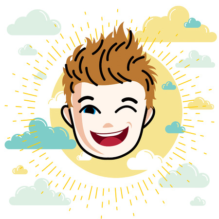 Boy face, vector human head illustration. Redhead kid winking.