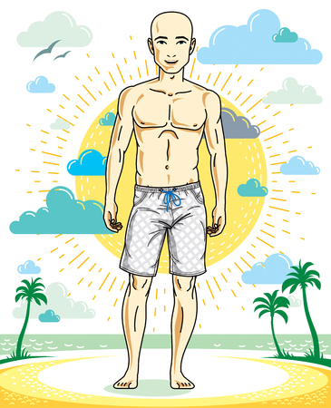 Handsome hairless young man standing on tropical beach in bright shorts. Vector athletic male illustration. Summer vacation lifestyle theme cartoon.