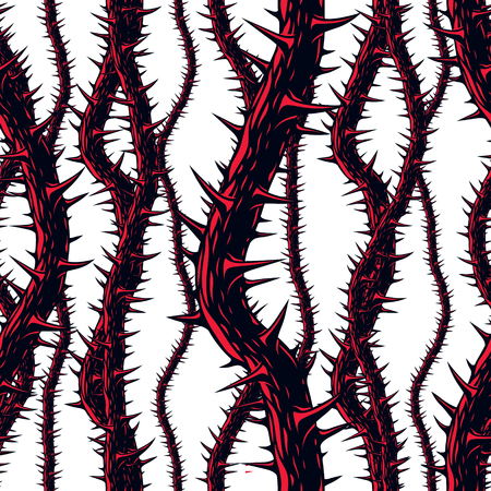Disgusting horror art and nightmare seamless pattern, vector background. Blackthorn branches with thorns stylish endless illustration. Usable for fabric, wallpaper, wrapping, web and print.