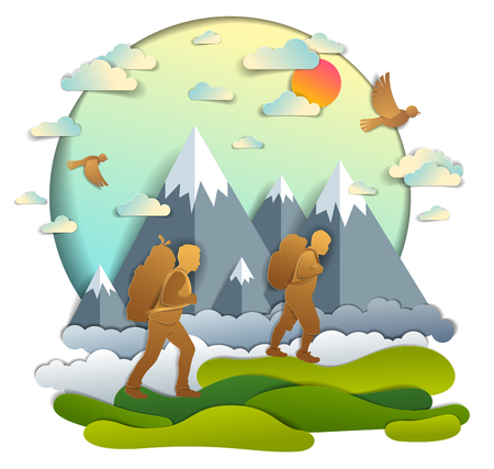 Father and son hiking to nature with mountain range, active men, fatherhood and teenager son growing masculine. Vector illustration of beautiful summer scenic landscape, birds in the sky, holidays.