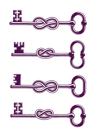 Knotted key allegorical symbol of keep secret, vintage antique turnkey in a knot