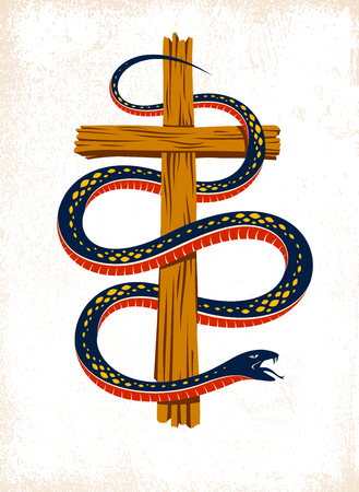 Serpent on a Cross vintage tattoo, snake wraps around Christian cross Illustration