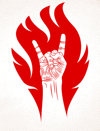 Rock hand sign on fire, hot music Rock and Roll gesture in flames