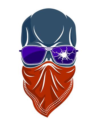 Logo de crâne de gangster, icône ou tatouage, aviron criminel agressif élégant urbain.