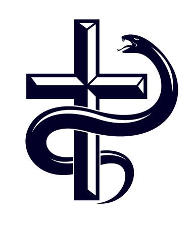 Serpent on a Cross vintage tattoo, snake wraps around Christian cross Illusztráció