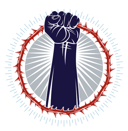 Strong hand clenched fist fighting for freedom against blackthorn thorn slavery theme