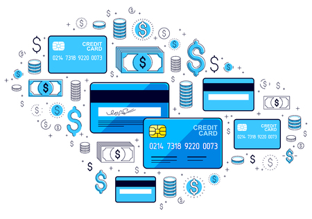 Credit card and financial icon set, banking credit or deposit, shopping and marketplace payments, online business cincept, financial activity vector design. Ilustração