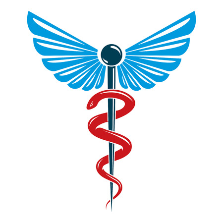 Aesculapius  abstract emblem composed using wings and snakes best for used in pharmacy advertisement. Vectores