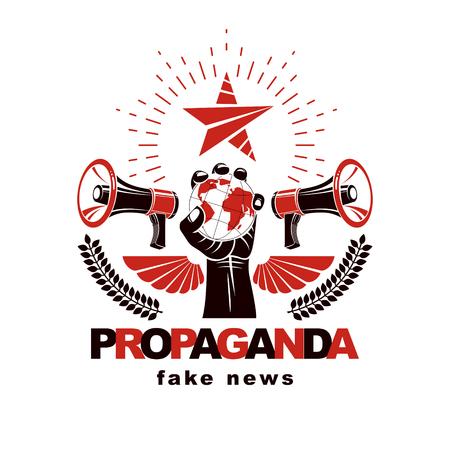 Affiche de présentation composée de haut-parleurs, le bras levé tient le globe terrestre, illustration vectorielle. La propagande comme moyen de manipulation et de contrôle global.