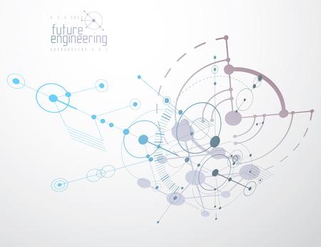 Esquema mecánico, dibujo de ingeniería vectorial con círculos y partes geométricas del mecanismo. El plan técnico se puede utilizar en diseño web y como papel tapiz o fondo.