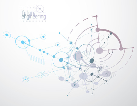 Mechanical scheme, vector engineering drawing with circles and geometric parts of mechanism. Technical plan can be used in web design and as wallpaper or background.