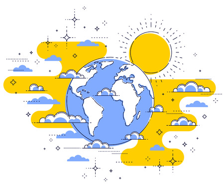 Earth in the sky surrounded by clouds beautiful thin line illustration isolated over white background, vector. Ilustração