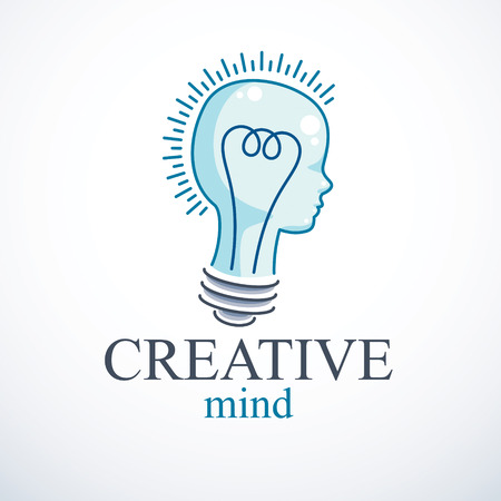 Creative brain concept, intelligent person vector logo. Light bulb in a shape of child head profile. Bright mind, thinking and brainstorming idea icon. Stock Vector - 122309085