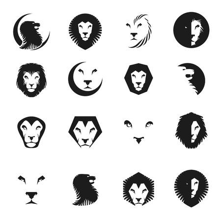 Brave Lions ancient emblems elements set. Heraldic vector design elements collection. Retro style label, heraldry logo.
