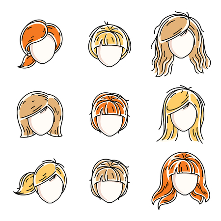 Collection of women faces, human heads. Diverse vector characters like red-haired and blonde females, beautiful ladies visage clipart and user profile. Ilustração