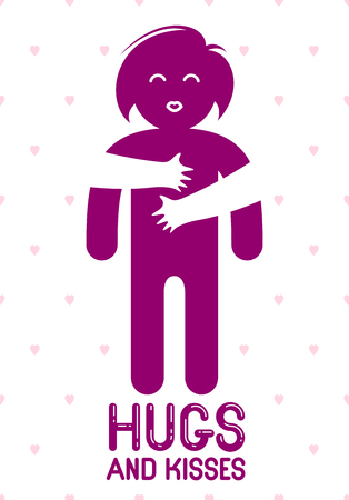 Hugs and kisses with loving hands of beloved person and kissing lips, lover woman hugging her mate and shares love, vector icon logo or illustration in simplistic symbolic style. Illustration