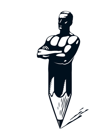 Strongman muscle man combined with pencil into a symbol, strong design concept, creative power allegory, vector perfect classic style logo or icon. Imagens - 122309182