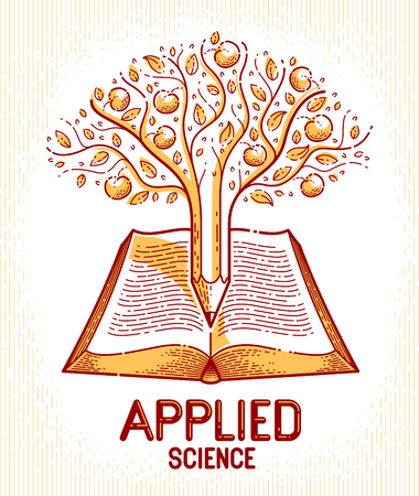Tree with apples combined with pencil over open vintage book education or science knowledge concept, educational or scientific literature library vector logo or emblem.
