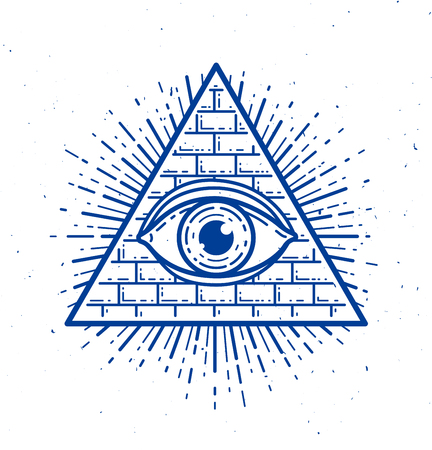 All seeing eye of god in sacred geometry triangle, masonry and illuminati symbol, vector logo or emblem design element.