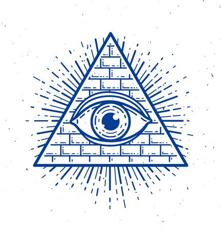 Tous les yeux voyants de dieu dans le triangle de la géométrie sacrée, le symbole de la maçonnerie et des illuminati, le logo vectoriel ou l'élément de conception de l'emblème.
