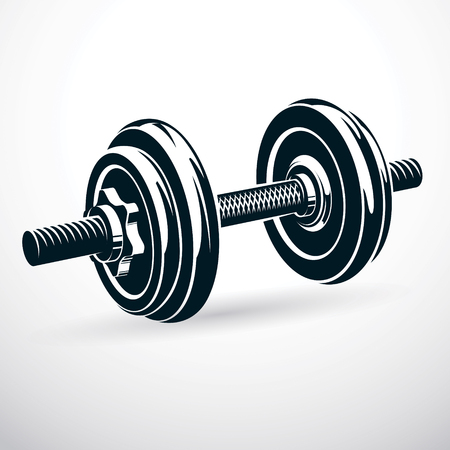 Dumbbell vector illustration isolated on white with disc weight. Sport equipment for power lifting and fitness training. Illustration