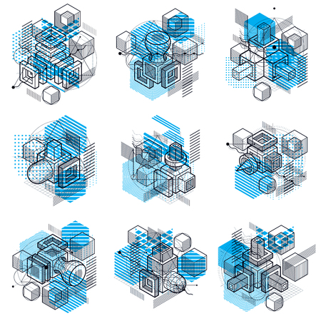 Abstract designs with 3d linear mesh shapes and figures, vector isometric backgrounds. Cubes, hexagons, squares, rectangles and different abstract elements. Vector collection.