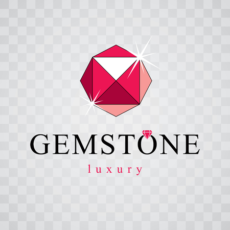 Vector faceted gemstone illustration with sparkles, polygonal. Brilliant jewelry sign emblem, logo. 矢量图像