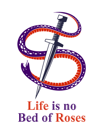 Dagger kills a Snake, defeated Serpent wraps around a sword vector vintage tattoo, Life is a Fight concept, allegorical logo or emblem of ancient symbol. Logos