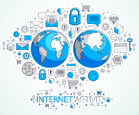 Global internet connection concept, planet earth with different icons set, internet activity, big data, global communication, vector, elements can be used separately.