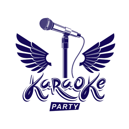 Karaoke Party Advertising Poster, Live Music Vector Concert